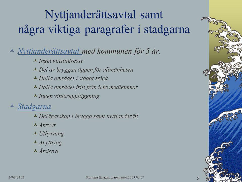 2003-04-28Stortorps Brygga, presentation 2003-05-07 5 Nyttjanderättsavtal samt några viktiga paragrafer i stadgarna  Nyttjanderättsavtal med kommunen