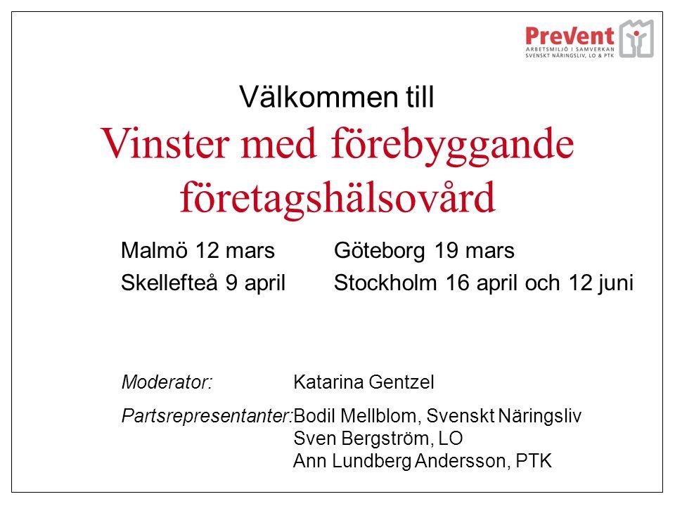 Välkommen till Vinster med förebyggande företagshälsovård Malmö 12 mars Skellefteå 9 april Göteborg 19 mars Stockholm 16 april och 12 juni Moderator:K