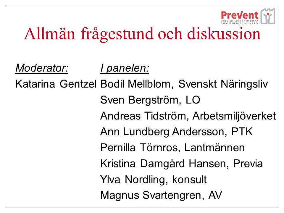 Allmän frågestund och diskussion Moderator: Katarina Gentzel I panelen: Bodil Mellblom, Svenskt Näringsliv Sven Bergström, LO Andreas Tidström, Arbets