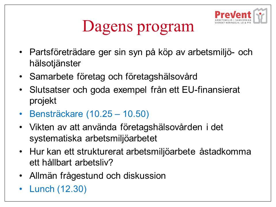 Dagens program •Partsföreträdare ger sin syn på köp av arbetsmiljö- och hälsotjänster •Samarbete företag och företagshälsovård •Slutsatser och goda ex