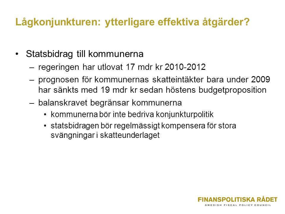 Lågkonjunkturen: ytterligare effektiva åtgärder.