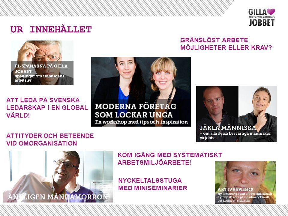 UR INNEHÅLLET ATT LEDA PÅ SVENSKA – LEDARSKAP I EN GLOBAL VÄRLD! ATTITYDER OCH BETEENDE VID OMORGANISATION NYCKELTALSSTUGA MED MINISEMINARIER KOM IGÅN