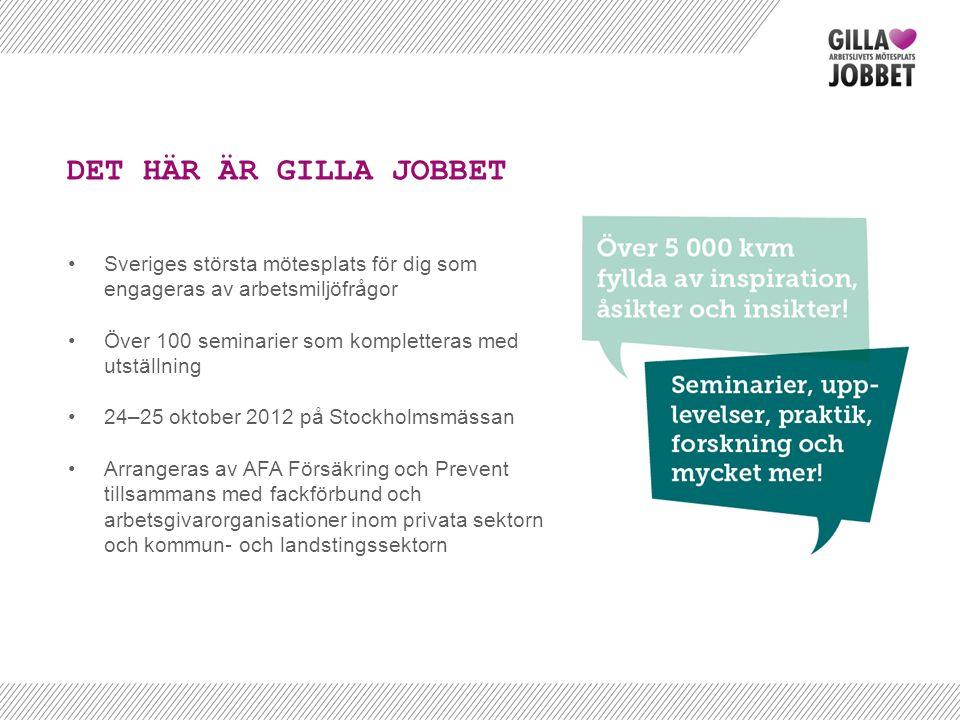 •Sveriges största mötesplats för dig som engageras av arbetsmiljöfrågor •Över 100 seminarier som kompletteras med utställning •24–25 oktober 2012 på S