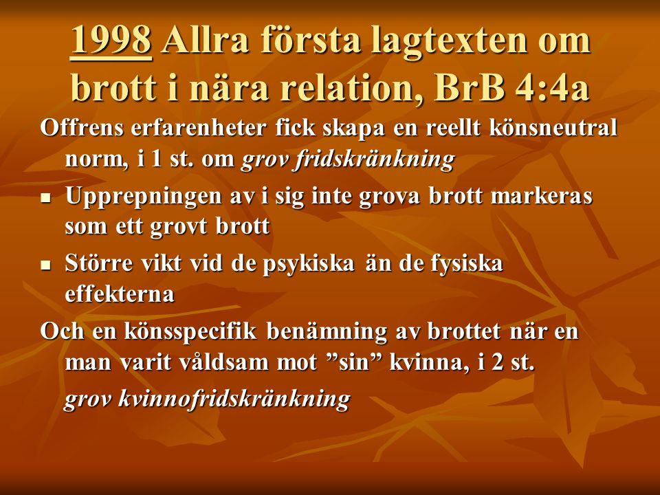 1998 Allra första lagtexten om brott i nära relation, BrB 4:4a Offrens erfarenheter fick skapa en reellt könsneutral norm, i 1 st. om grov fridskränkn