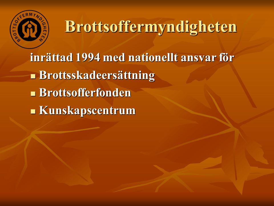 Brottsoffermyndigheten inrättad 1994 med nationellt ansvar för inrättad 1994 med nationellt ansvar för  Brottsskadeersättning  Brottsofferfonden  K