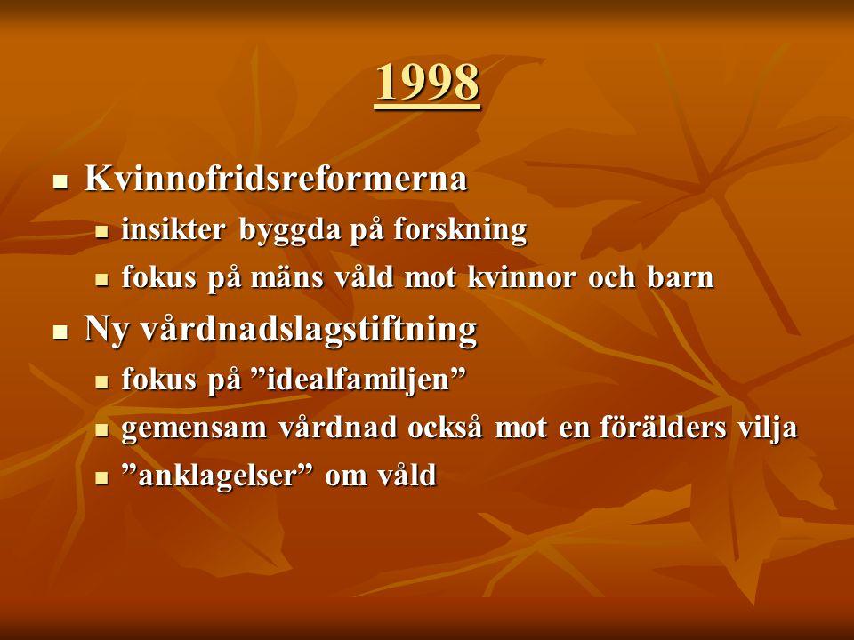 Sega, historiska strukturer …  Familjen var länge ett rättstomt rum  Offentligt – Privat  Några brytpunkter  Våldtäkt inom äktenskapet, 1965  Agaförbud, 1979  Allmänt åtal  1982 för misshandel i hemmet  1984 för våldtäkt Se vidare den rättshistoriska tablån i Nordborg, Gudrun 2001 Kvinnofrid – att förstå bakgrunden till mäns våld mot kvinnor, www.brottsoffermyndigheten.se