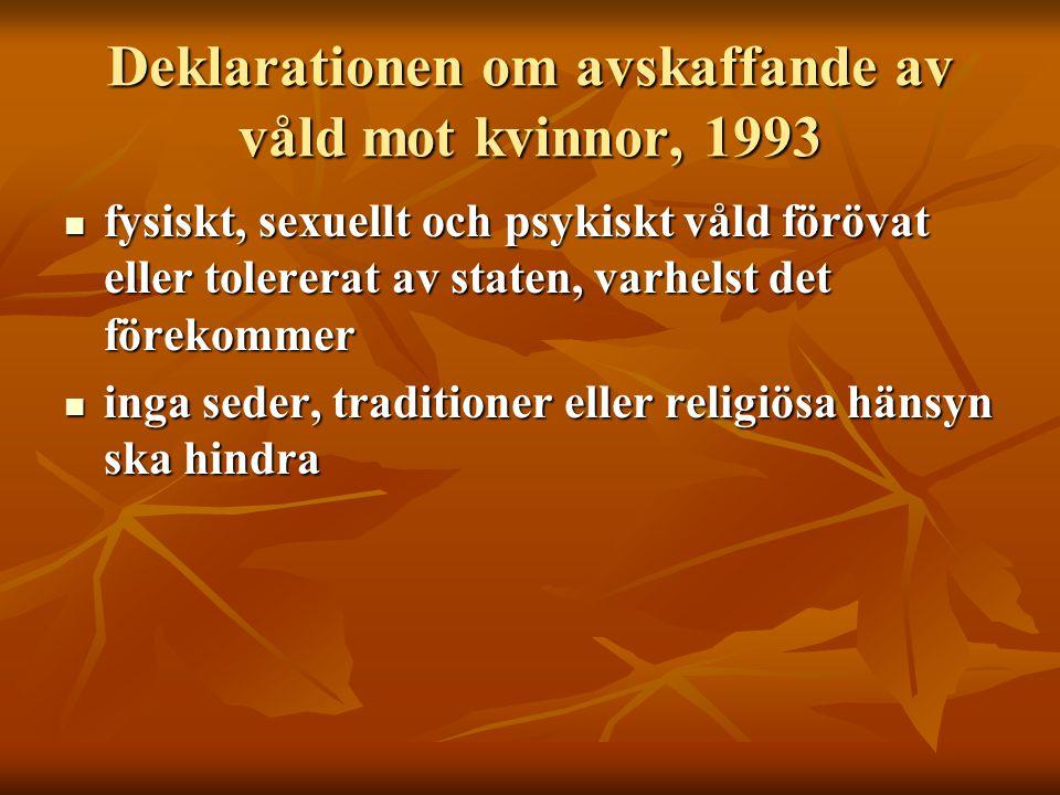 Deklarationen om avskaffande av våld mot kvinnor, 1993  fysiskt, sexuellt och psykiskt våld förövat eller tolererat av staten, varhelst det förekomme