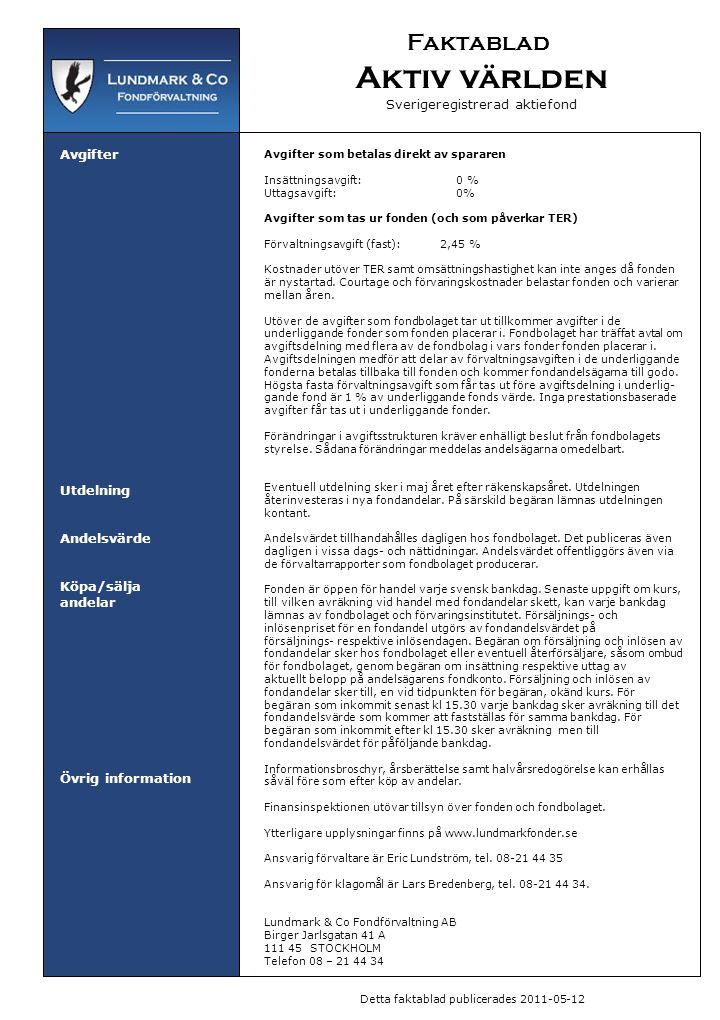 Faktablad Aktiv världen Sverigeregistrerad aktiefond Avgifter Utdelning Andelsvärde Köpa/sälja andelar Övrig information Avgifter som betalas direkt a