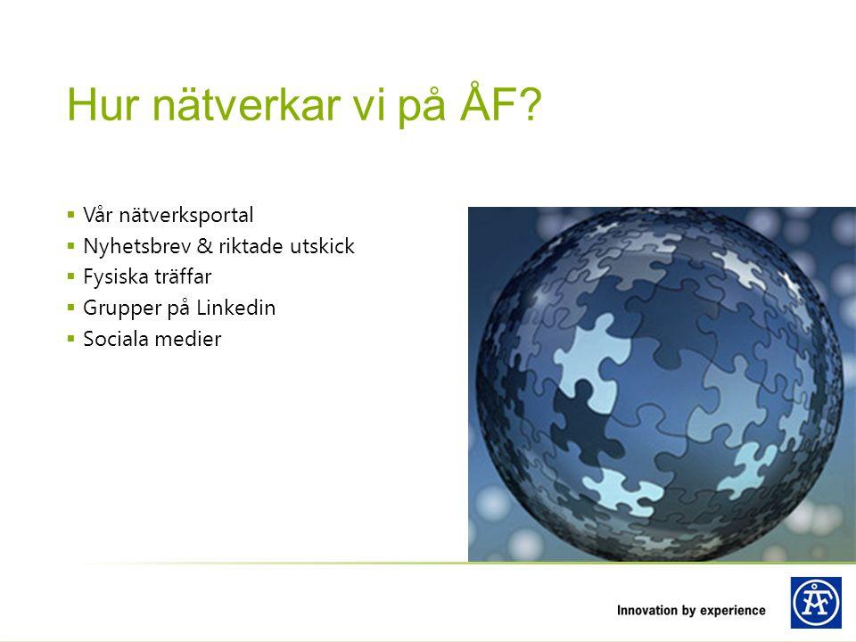  Vår nätverksportal  Nyhetsbrev & riktade utskick  Fysiska träffar  Grupper på Linkedin  Sociala medier Hur nätverkar vi på ÅF?
