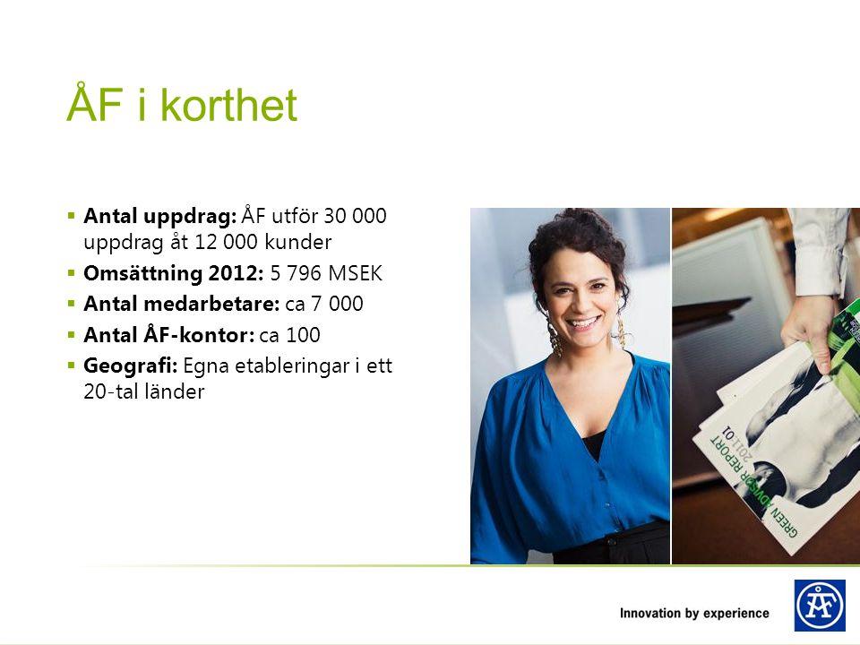  Antal uppdrag: ÅF utför 30 000 uppdrag åt 12 000 kunder  Omsättning 2012: 5 796 MSEK  Antal medarbetare: ca 7 000  Antal ÅF-kontor: ca 100  Geog