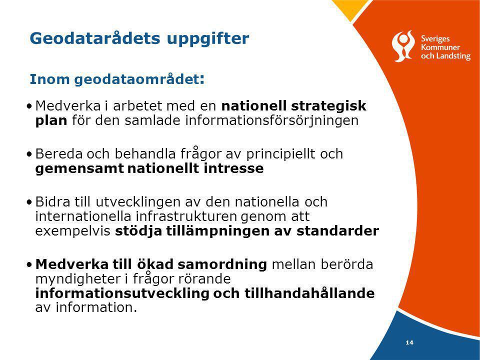 14 Geodatarådets uppgifter Inom geodataområdet : •Medverka i arbetet med en nationell strategisk plan för den samlade informationsförsörjningen •Bered