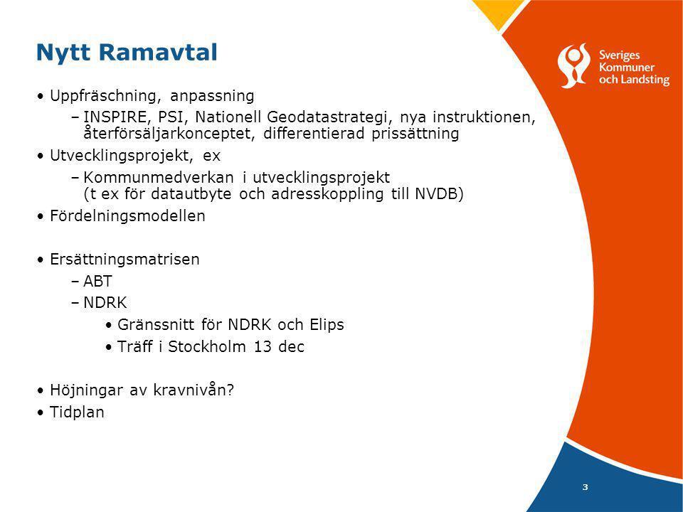 3 Nytt Ramavtal •Uppfräschning, anpassning –INSPIRE, PSI, Nationell Geodatastrategi, nya instruktionen, återförsäljarkonceptet, differentierad prissät