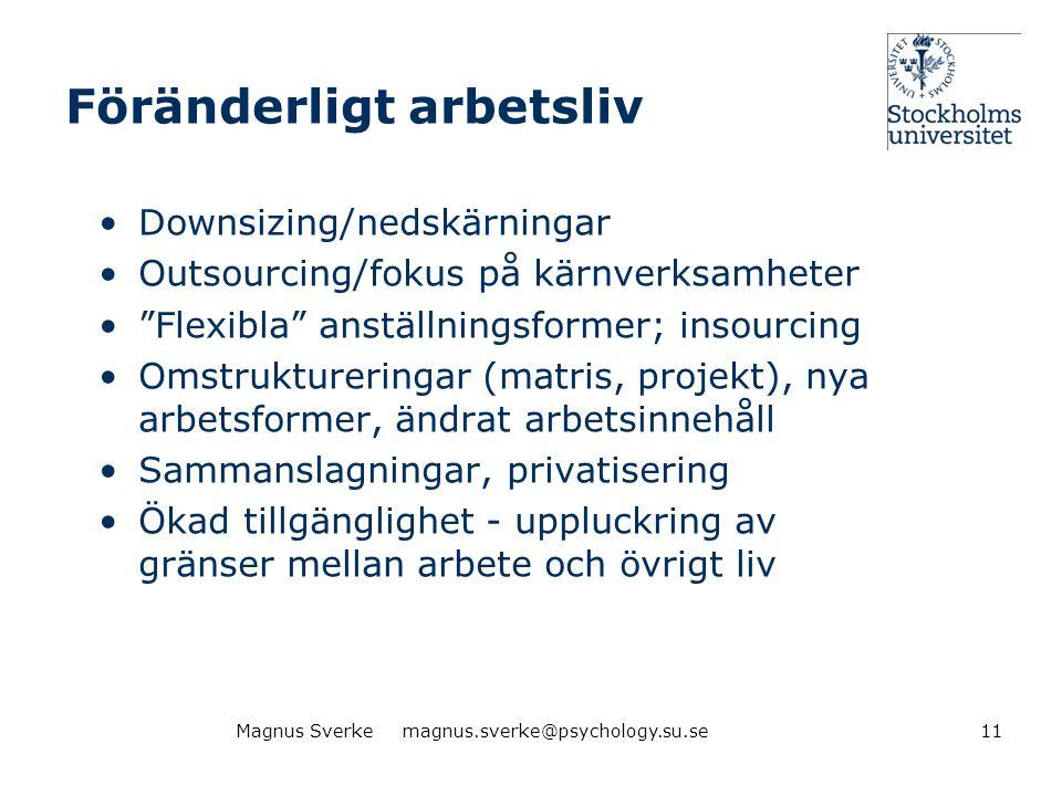 """Föränderligt arbetsliv •Downsizing/nedskärningar •Outsourcing/fokus på kärnverksamheter •""""Flexibla"""" anställningsformer; insourcing •Omstruktureringar"""