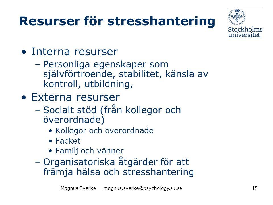 Resurser för stresshantering •Interna resurser –Personliga egenskaper som självförtroende, stabilitet, känsla av kontroll, utbildning, •Externa resurs