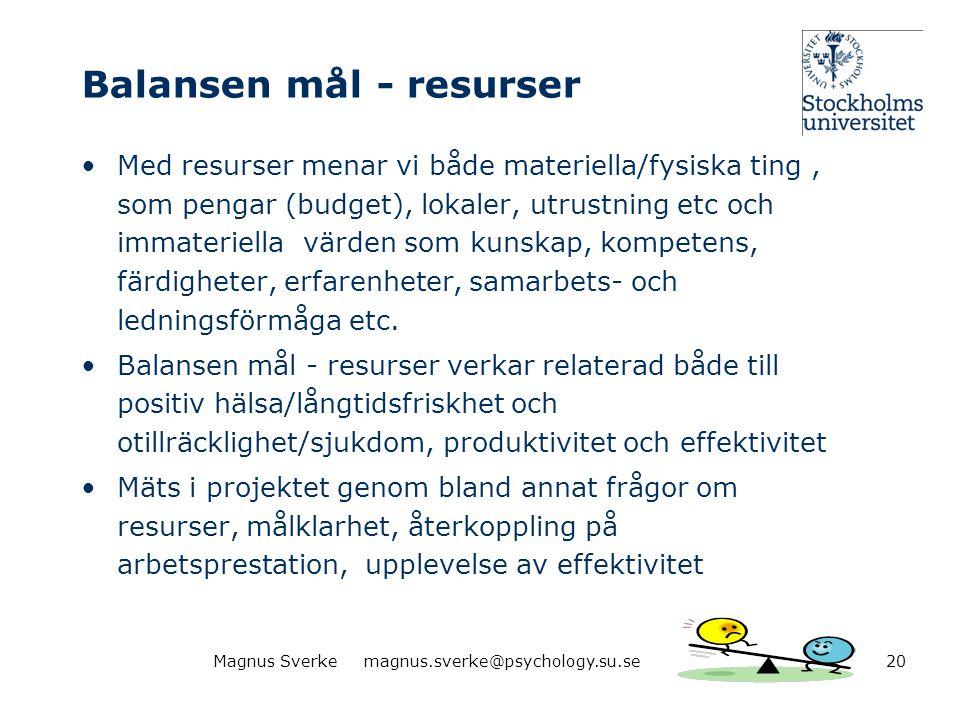 Balansen mål - resurser •Med resurser menar vi både materiella/fysiska ting, som pengar (budget), lokaler, utrustning etc och immateriella värden som
