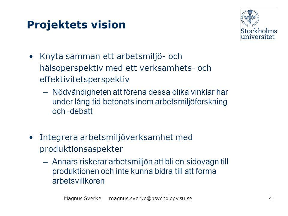 Projektets vision •Knyta samman ett arbetsmiljö- och hälsoperspektiv med ett verksamhets- och effektivitetsperspektiv –Nödvändigheten att förena dessa