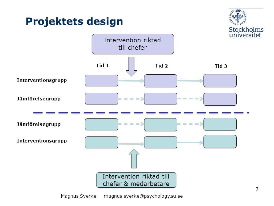 Interventionerna •Form: utbildning – föreläsningar och workshops (totalt 4 halvdagar) •Pedagogik: betona att alla uppdrag och åtaganden på ett eller annat sätt kan förändra balanser positivt eller negativt •Mätningar: för- och eftermätningar av arbetsvillkor och olika hälso- och produktivitetsindikatorer •Upplägg: Flera olika interventionsgrupper (och jämförelsegrupper) •Genomförande: Konsulter från företagshälsovård 8Magnus Sverke magnus.sverke@psychology.su.se
