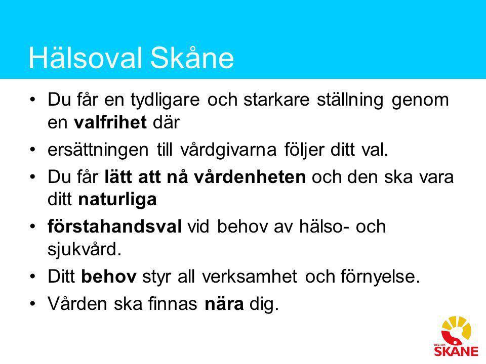 Hälsoval Skåne •Du får en tydligare och starkare ställning genom en valfrihet där •ersättningen till vårdgivarna följer ditt val. •Du får lätt att nå