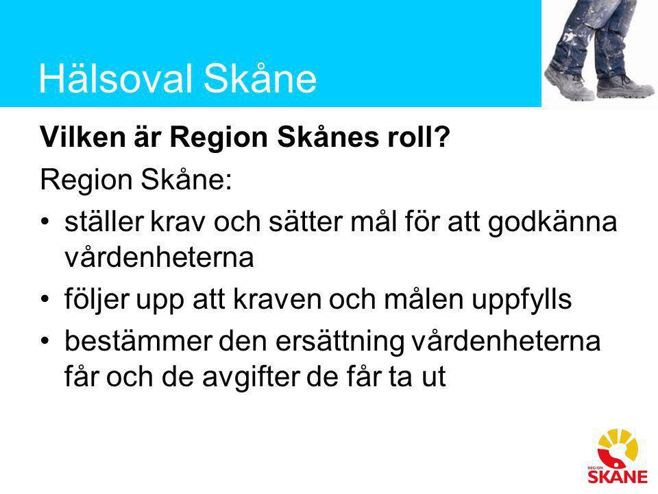 Hälsoval Skåne Vilken är Region Skånes roll? Region Skåne: •ställer krav och sätter mål för att godkänna vårdenheterna •följer upp att kraven och måle