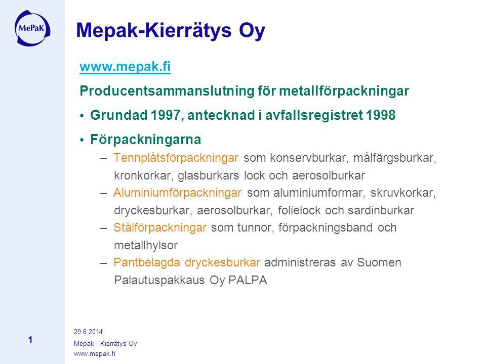 www.mepak.fi 29.6.2014 Mepak - Kierrätys Oy 1 www.mepak.fi Producentsammanslutning för metallförpackningar • Grundad 1997, antecknad i avfallsregistret 1998 • Förpackningarna – Tennplåtsförpackningar som konservburkar, målfärgsburkar, kronkorkar, glasburkars lock och aerosolburkar – Aluminiumförpackningar som aluminiumformar, skruvkorkar, dryckesburkar, aerosolburkar, folielock och sardinburkar – Stålförpackningar som tunnor, förpackningsband och metallhylsor – Pantbelagda dryckesburkar administreras av Suomen Palautuspakkaus Oy PALPA