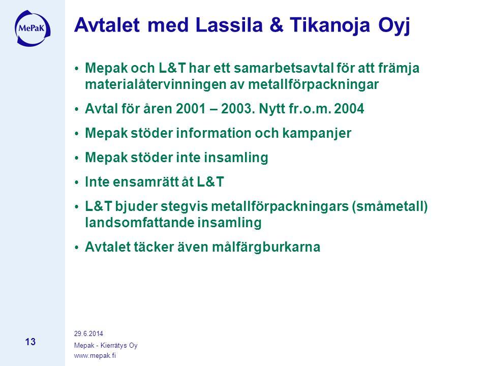 www.mepak.fi 29.6.2014 Mepak - Kierrätys Oy 13 Avtalet med Lassila & Tikanoja Oyj • Mepak och L&T har ett samarbetsavtal för att främja materialåtervinningen av metallförpackningar • Avtal för åren 2001 – 2003.