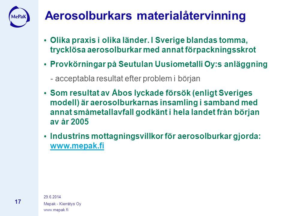 www.mepak.fi 29.6.2014 Mepak - Kierrätys Oy 17 Aerosolburkars materialåtervinning • Olika praxis i olika länder.