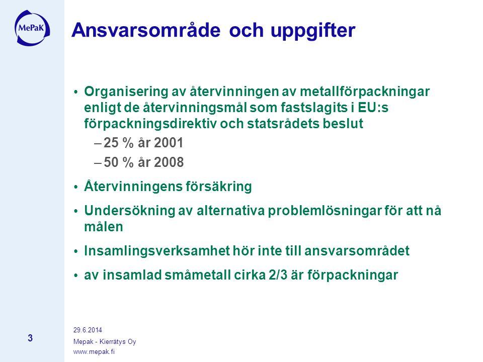 www.mepak.fi 29.6.2014 Mepak - Kierrätys Oy 3 Ansvarsområde och uppgifter • Organisering av återvinningen av metallförpackningar enligt de återvinningsmål som fastslagits i EU:s förpackningsdirektiv och statsrådets beslut –25 % år 2001 –50 % år 2008 • Återvinningens försäkring • Undersökning av alternativa problemlösningar för att nå målen • Insamlingsverksamhet hör inte till ansvarsområdet • av insamlad småmetall cirka 2/3 är förpackningar