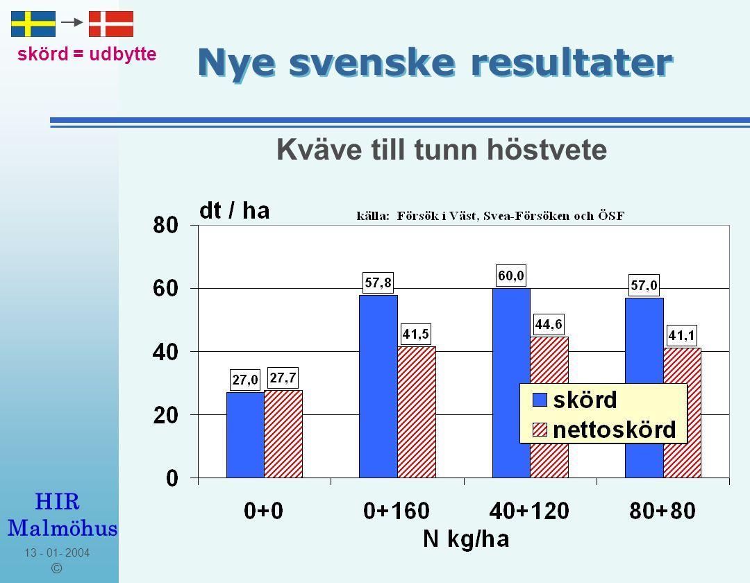 13 - 01- 2004 © HIR Malmöhus Nye svenske resultater lägre = lavere Resultat: Gödsling med svavel till höstvete gav ingen signifikant merskörd.