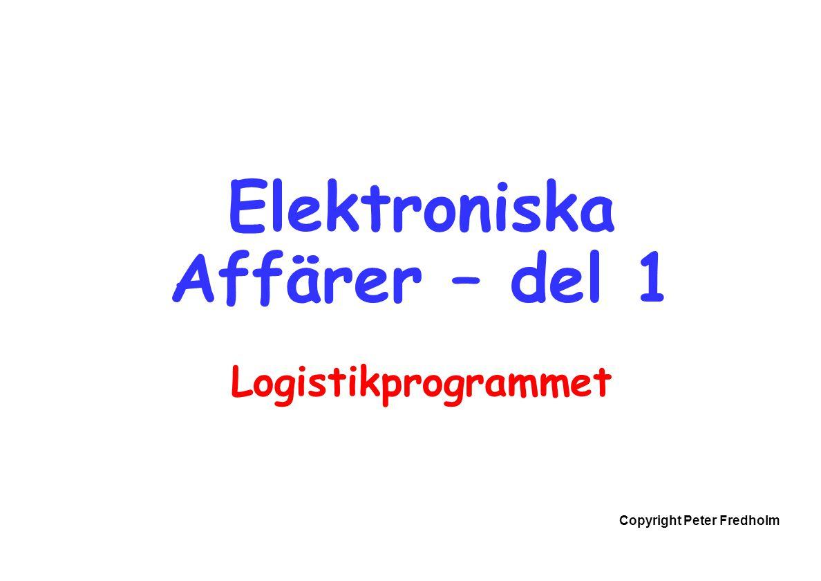 Copyright Peter Fredholm Elektroniska Affärer – del 1 Logistikprogrammet