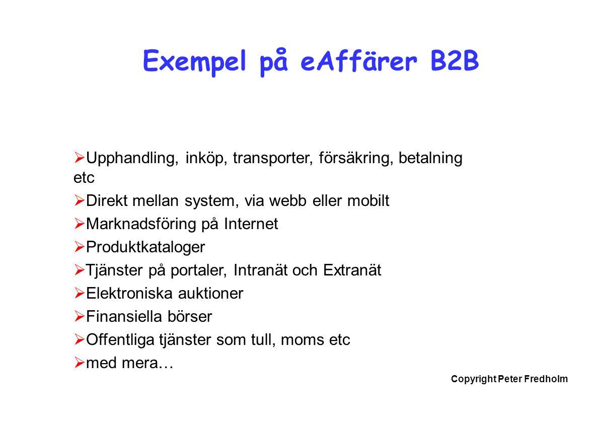 Copyright Peter Fredholm Exempel på eAffärer B2B  Upphandling, inköp, transporter, försäkring, betalning etc  Direkt mellan system, via webb eller m