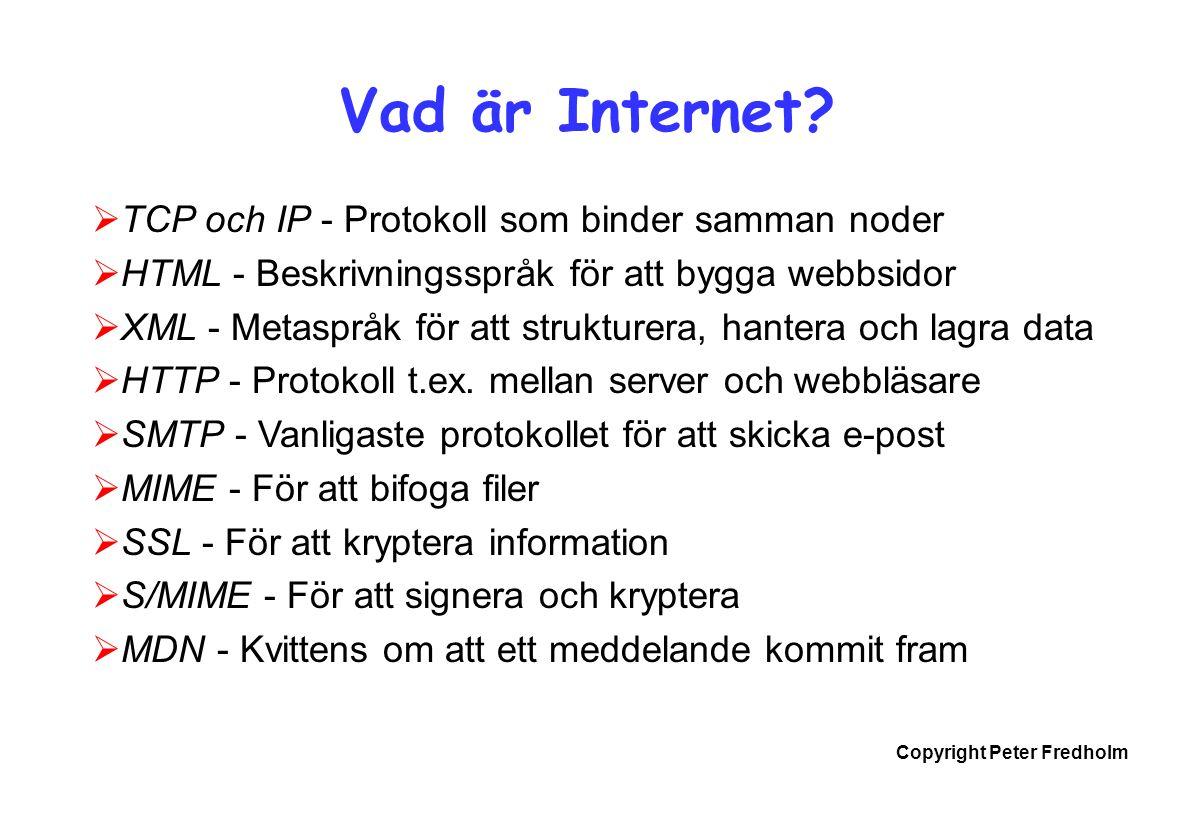 Copyright Peter Fredholm Vad är Internet?  TCP och IP - Protokoll som binder samman noder  HTML - Beskrivningsspråk för att bygga webbsidor  XML -