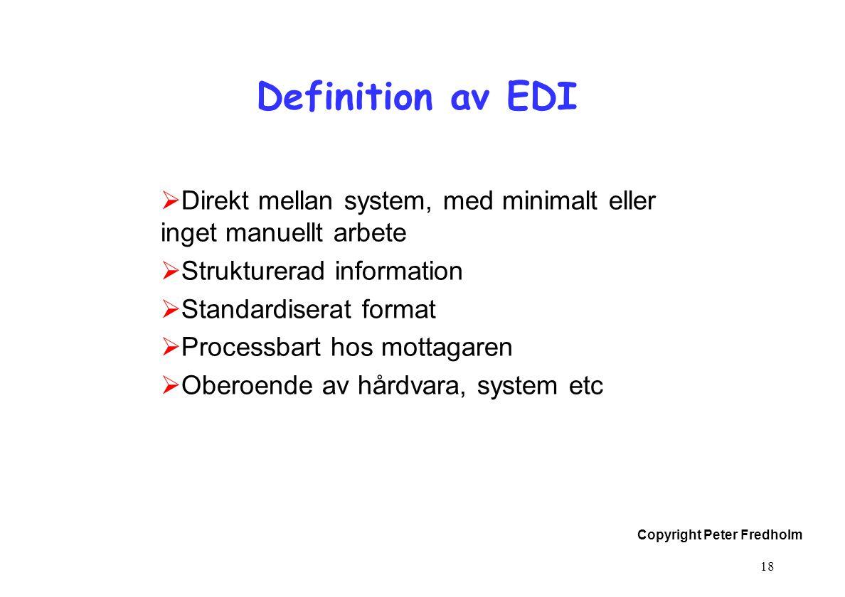 Copyright Peter Fredholm 18 Definition av EDI  Direkt mellan system, med minimalt eller inget manuellt arbete  Strukturerad information  Standardis