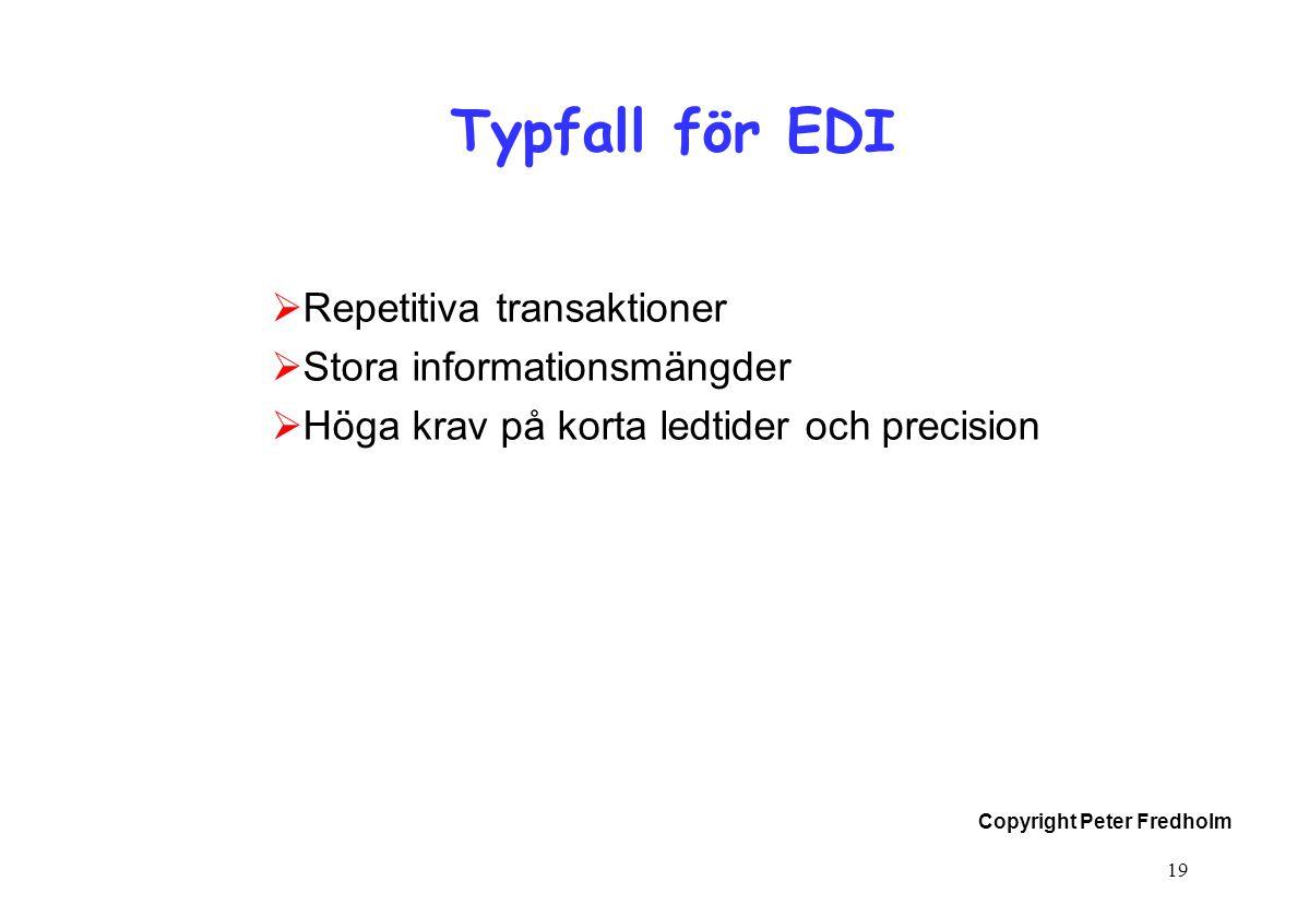 Copyright Peter Fredholm 19 Typfall för EDI  Repetitiva transaktioner  Stora informationsmängder  Höga krav på korta ledtider och precision