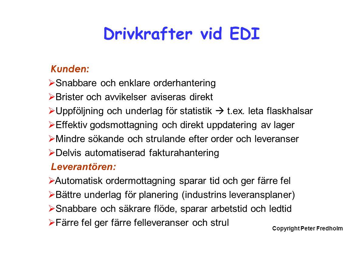 Copyright Peter Fredholm Drivkrafter vid EDI Kunden:  Snabbare och enklare orderhantering  Brister och avvikelser aviseras direkt  Uppföljning och