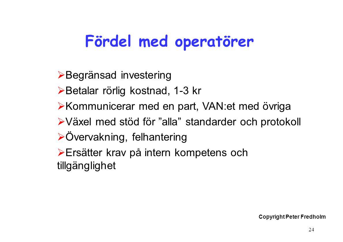 Copyright Peter Fredholm 24 Fördel med operatörer  Begränsad investering  Betalar rörlig kostnad, 1-3 kr  Kommunicerar med en part, VAN:et med övri