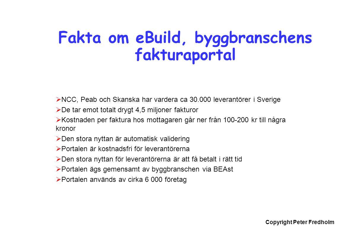 Copyright Peter Fredholm Fakta om eBuild, byggbranschens fakturaportal  NCC, Peab och Skanska har vardera ca 30.000 leverantörer i Sverige  De tar e