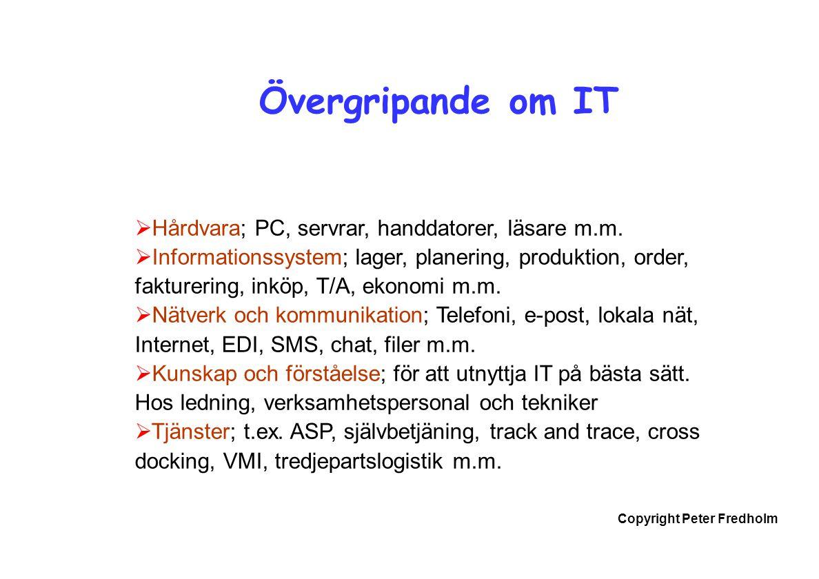 Copyright Peter Fredholm Övergripande om IT  Hårdvara; PC, servrar, handdatorer, läsare m.m.  Informationssystem; lager, planering, produktion, orde