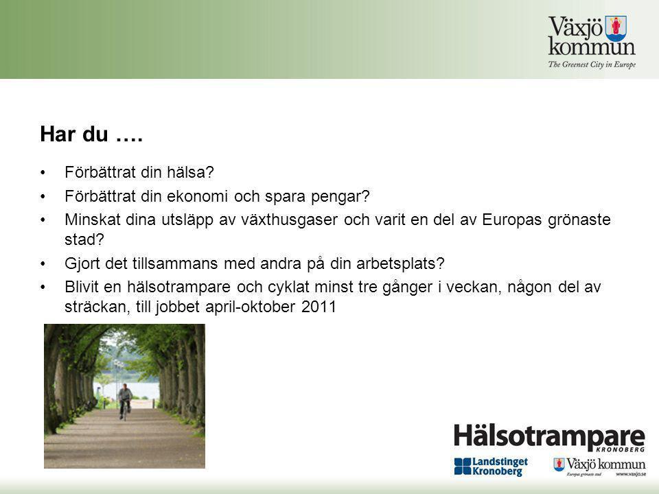 Har du …. •Förbättrat din hälsa? •Förbättrat din ekonomi och spara pengar? •Minskat dina utsläpp av växthusgaser och varit en del av Europas grönaste