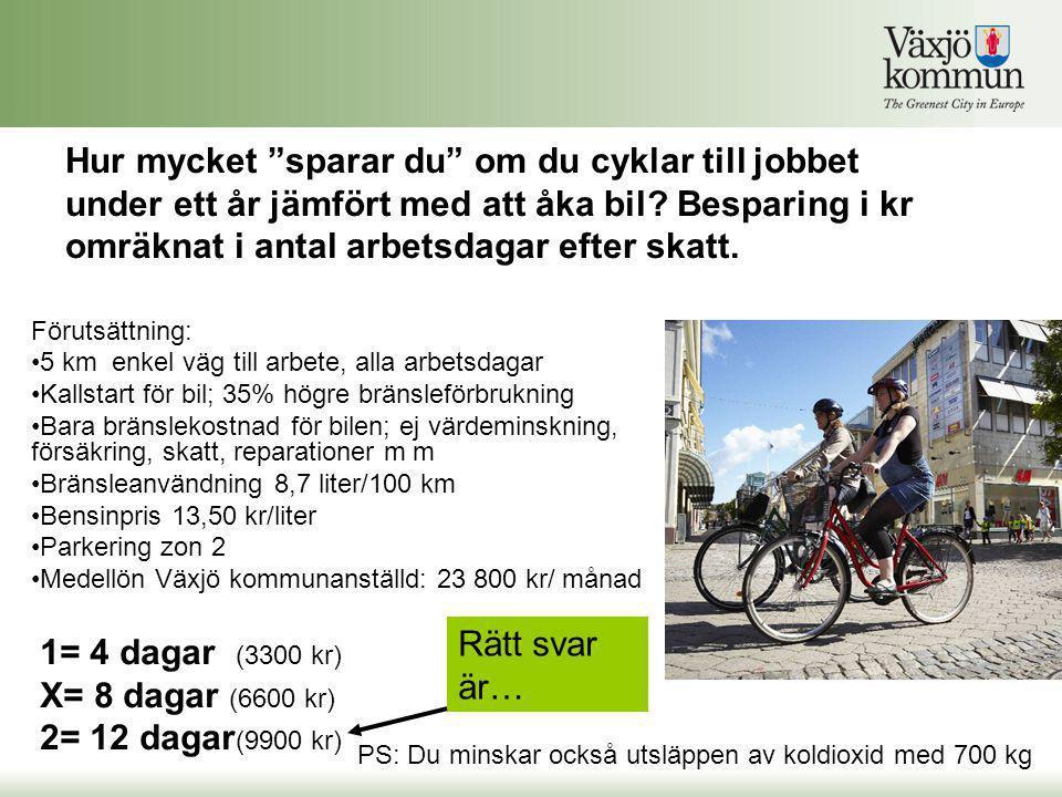 """Hur mycket """"sparar du"""" om du cyklar till jobbet under ett år jämfört med att åka bil? Besparing i kr omräknat i antal arbetsdagar efter skatt. Förutsä"""