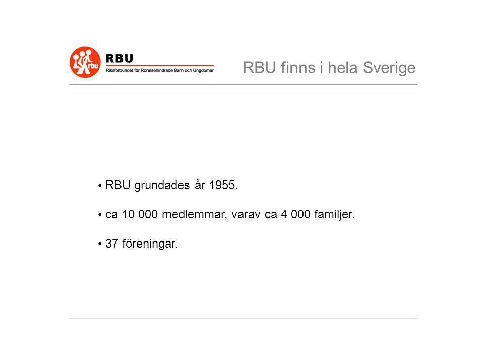 • RBU grundades år 1955. • ca 10 000 medlemmar, varav ca 4 000 familjer. • 37 föreningar. RBU finns i hela Sverige