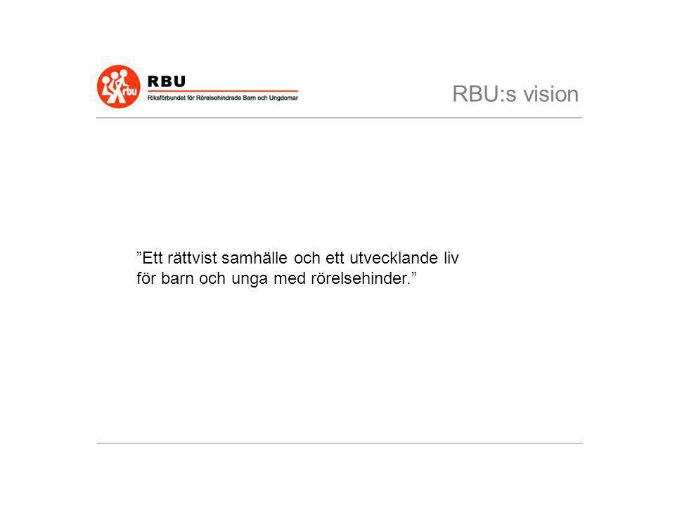 """""""Ett rättvist samhälle och ett utvecklande liv för barn och unga med rörelsehinder."""" RBU:s vision"""
