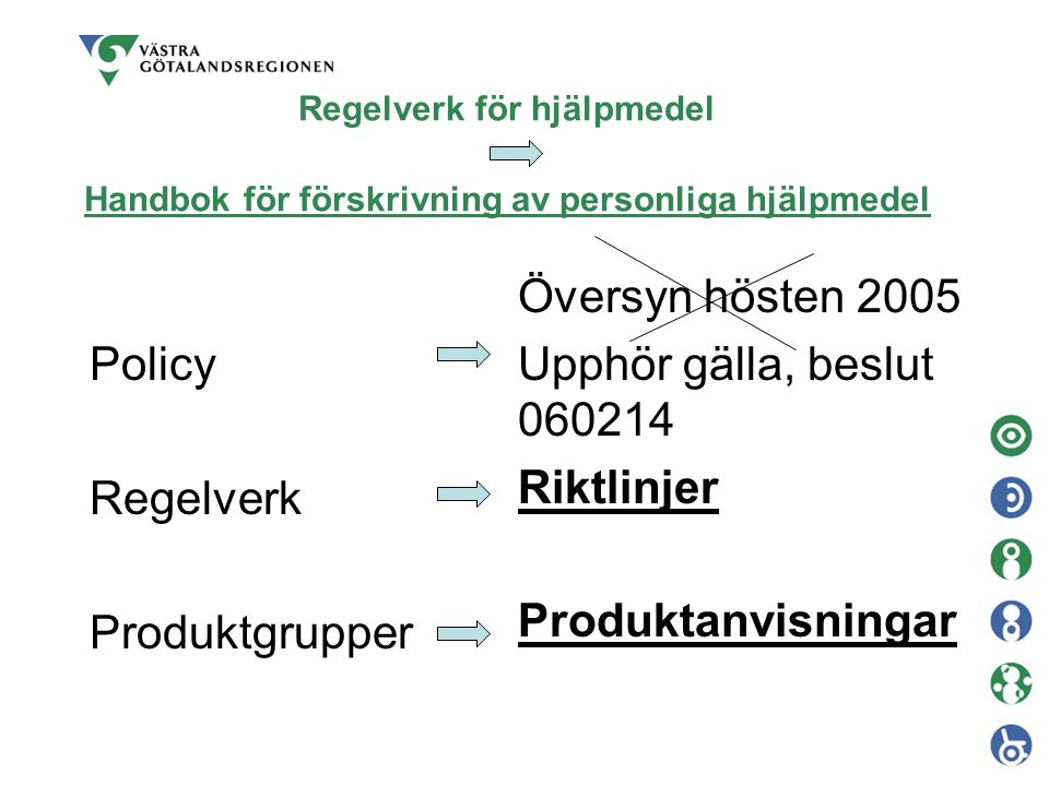 Regelverk för hjälpmedel Handbok för förskrivning av personliga hjälpmedel Policy Regelverk Produktgrupper Översyn hösten 2005 Upphör gälla, beslut 060214 Riktlinjer Produktanvisningar