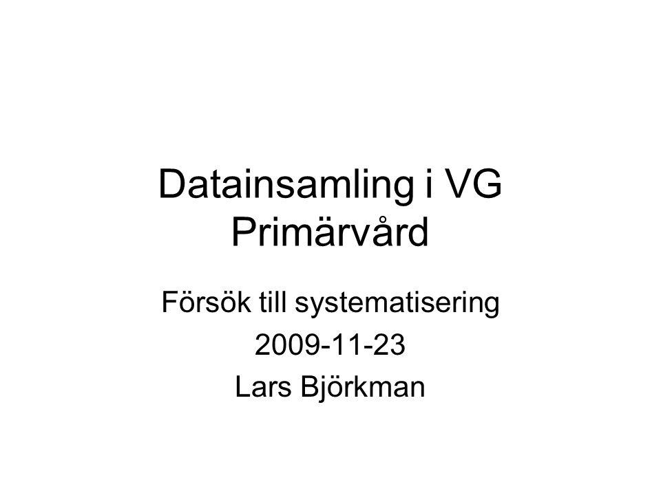Datainsamling i VG Primärvård Försök till systematisering 2009-11-23 Lars Björkman