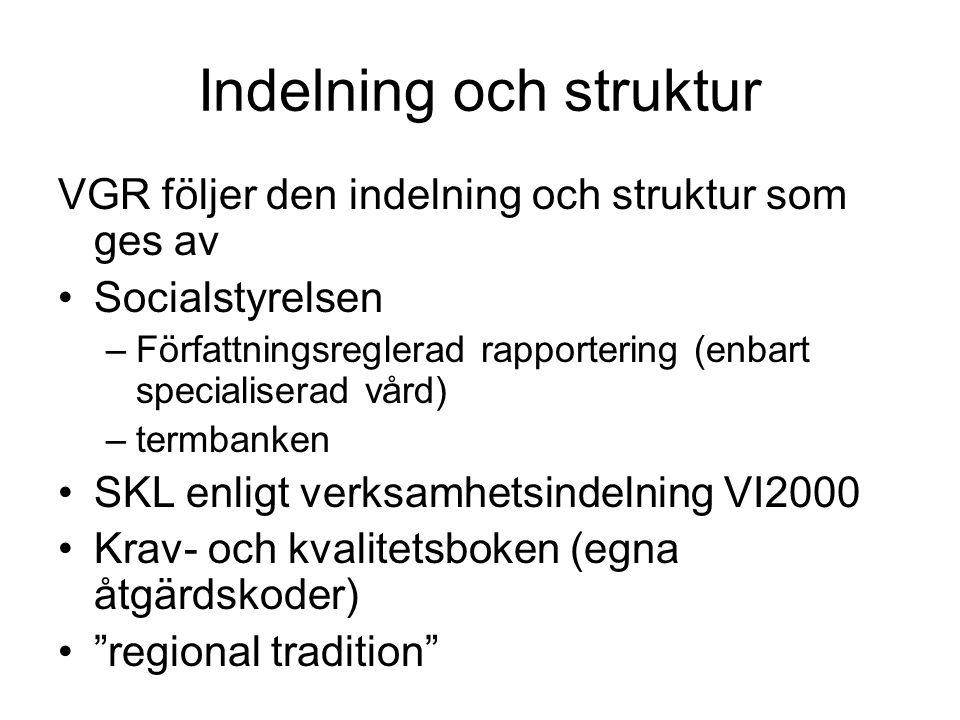 Indelning och struktur VGR följer den indelning och struktur som ges av •Socialstyrelsen –Författningsreglerad rapportering (enbart specialiserad vård
