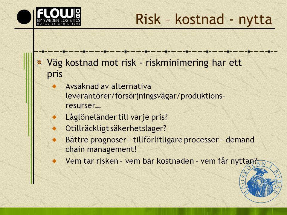 Risk – kostnad - nytta Väg kostnad mot risk - riskminimering har ett pris Avsaknad av alternativa leverantörer/försörjningsvägar/produktions- resurser