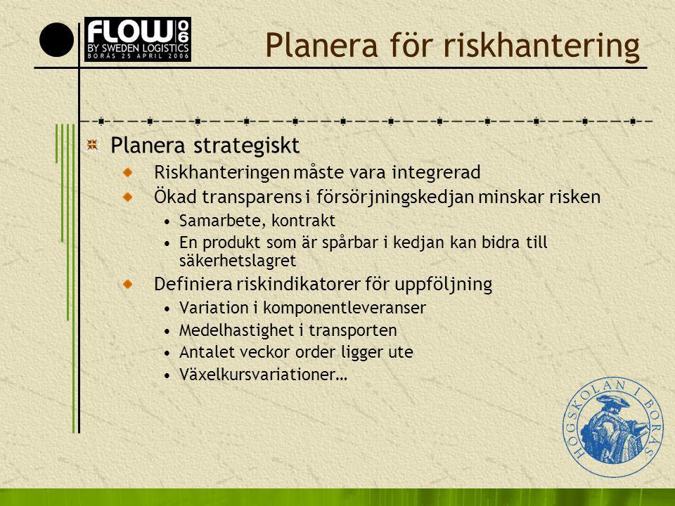 Planera för riskhantering Planera strategiskt Riskhanteringen måste vara integrerad Ökad transparens i försörjningskedjan minskar risken •Samarbete, k