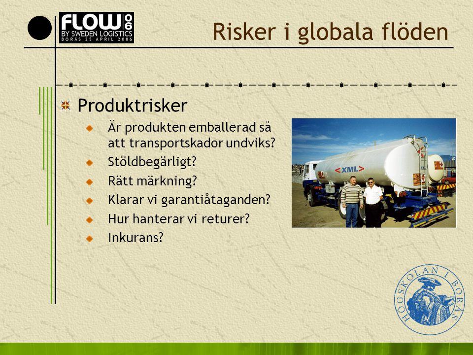 Risker i globala flöden Produktrisker Är produkten emballerad så att transportskador undviks? Stöldbegärligt? Rätt märkning? Klarar vi garantiåtagande