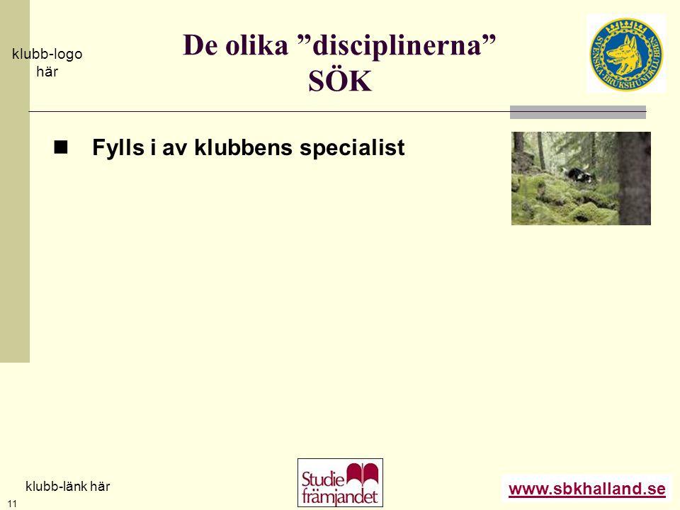 """www.sbkhalland.se klubb-logo här klubb-länk här 11 De olika """"disciplinerna"""" SÖK  Fylls i av klubbens specialist"""