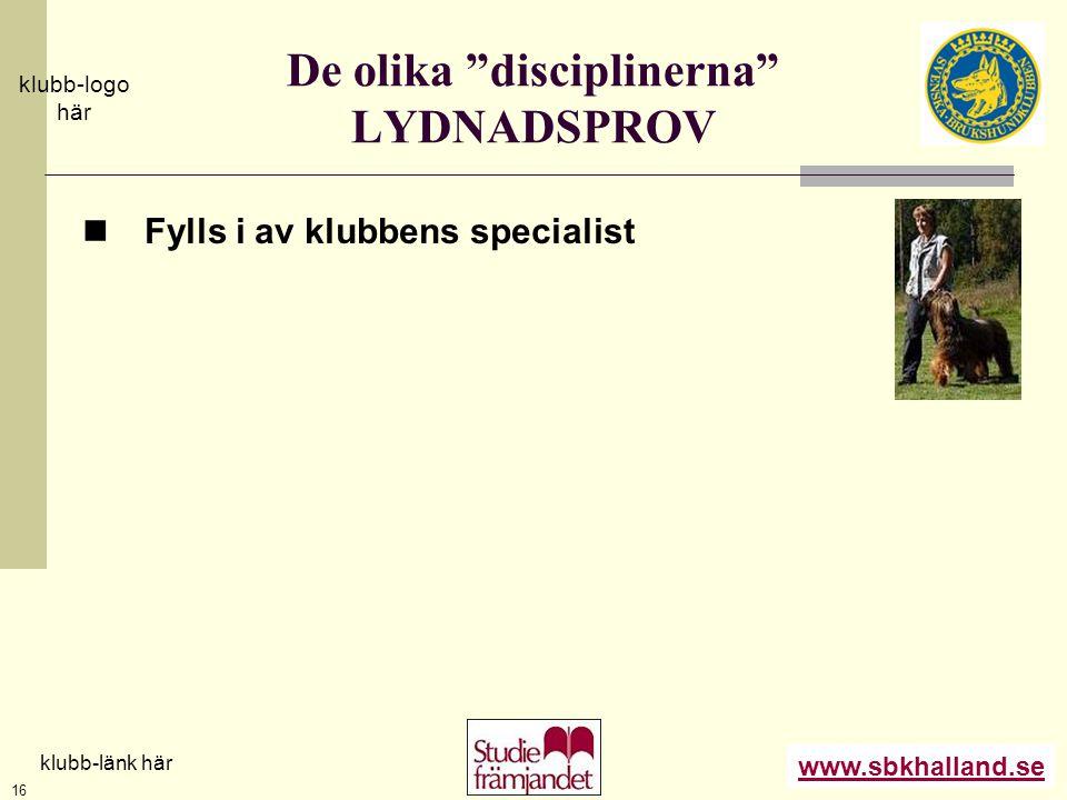 """www.sbkhalland.se klubb-logo här klubb-länk här 16 De olika """"disciplinerna"""" LYDNADSPROV  Fylls i av klubbens specialist"""