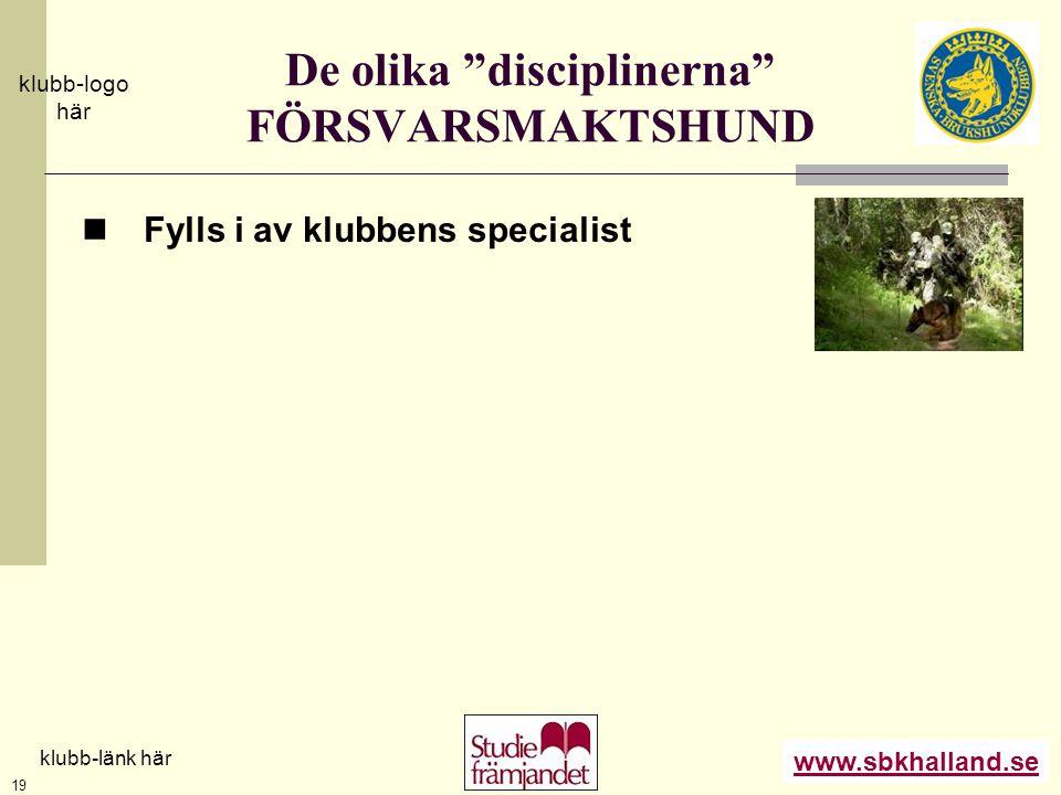 """www.sbkhalland.se klubb-logo här klubb-länk här 19 De olika """"disciplinerna"""" FÖRSVARSMAKTSHUND  Fylls i av klubbens specialist"""